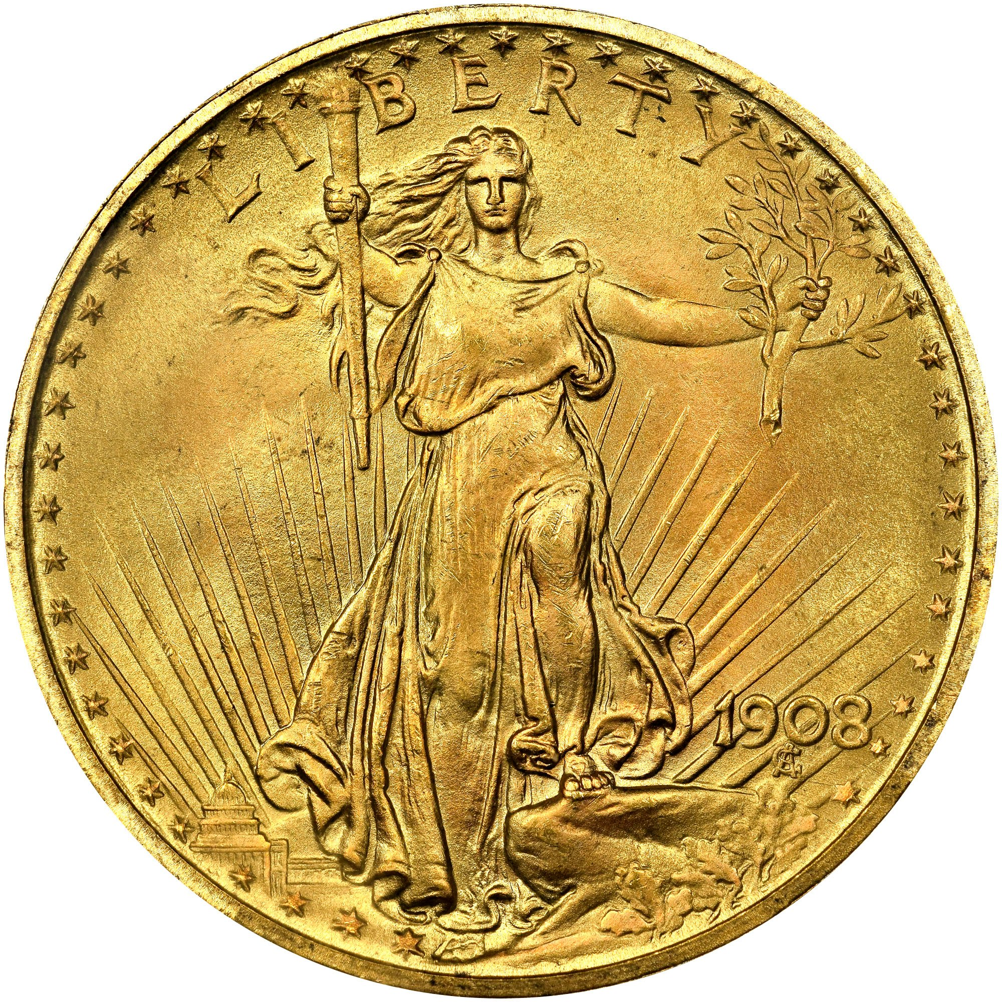 US Gold Saint Gaudens Double Eagle $20 1908-P Obverse